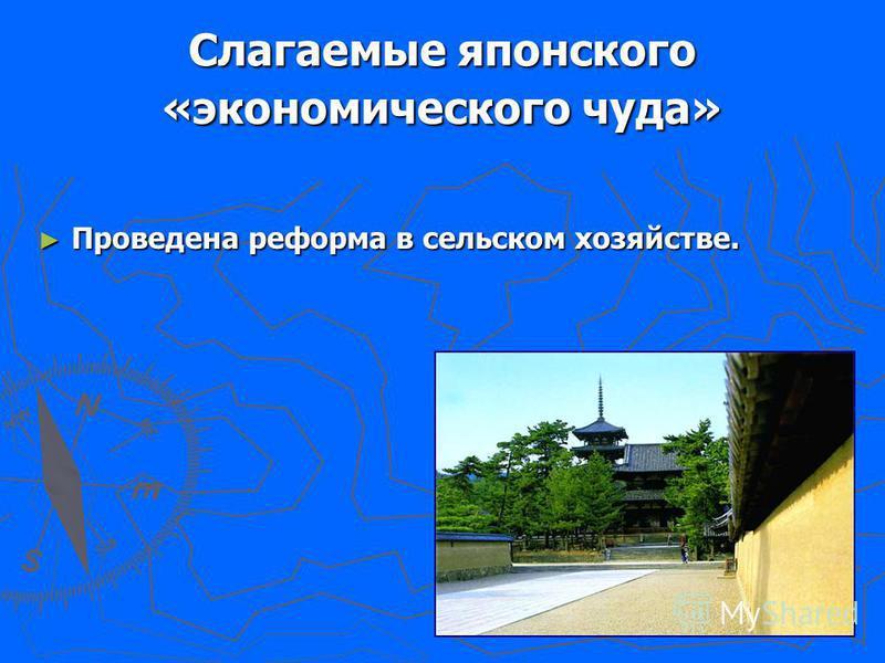 Слагаемые японского «экономического чуда» Проведена реформа в сельском хозяйстве. Проведена реформа в сельском хозяйстве.