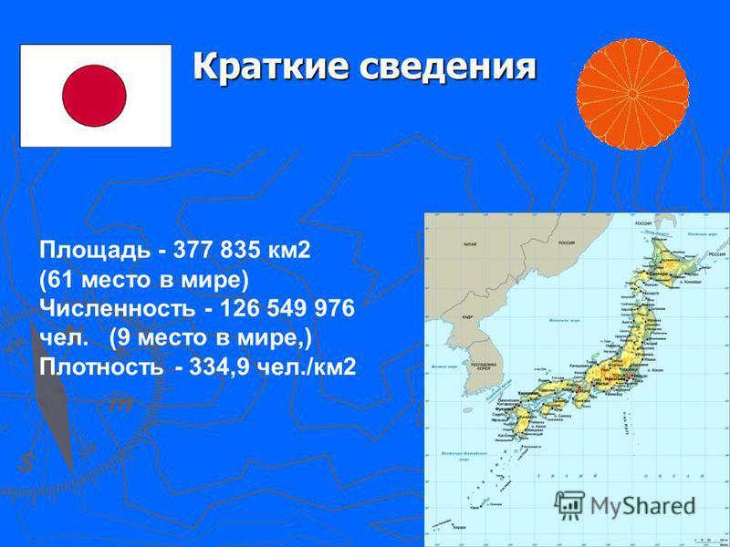 Краткие сведения Площадь - 377 835 км 2 (61 место в мире) Численность - 126 549 976 чел. (9 место в мире,) Плотность - 334,9 чел./км 2