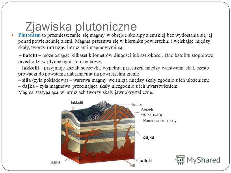 Zjawiska plutoniczne Plutonizm to przemieszczanie się magmy w obrębie skorupy ziemskiej bez wydostania się jej ponad powierzchnię ziemi. Magma przesuwa się w kierunku powierzchni i wciskając między skały, tworzy intruzje. Intruzjami magmowymi są: – b