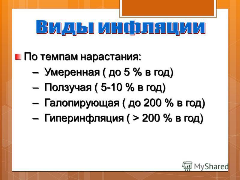 По темпам нарастания: – Умеренная ( до 5 % в год) – Умеренная ( до 5 % в год) – Ползучая ( 5-10 % в год) – Ползучая ( 5-10 % в год) – Галопирующая ( до 200 % в год) – Галопирующая ( до 200 % в год) – Гиперинфляция ( > 200 % в год) – Гиперинфляция ( >