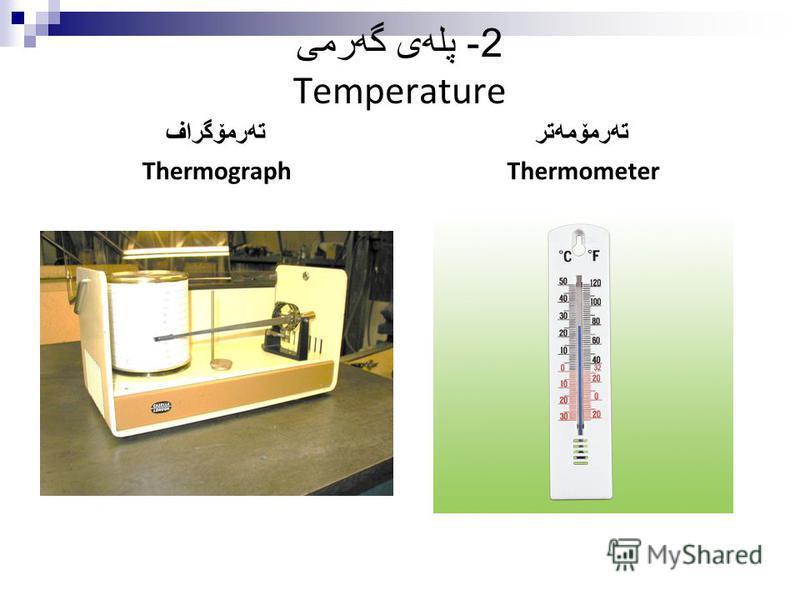 2- پله ی گه رمی Temperature ته رمۆگراف Thermograph ته رمۆمه تر Thermometer