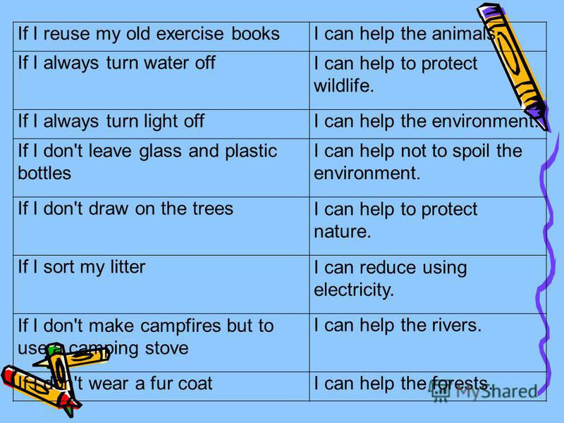 If I reuse my old exercise booksI can help the animals. If I always turn water offI can help to protect wildlife. If I always turn light offI can help the environment. If I don't leave glass and plastic bottles I can help not to spoil the environment