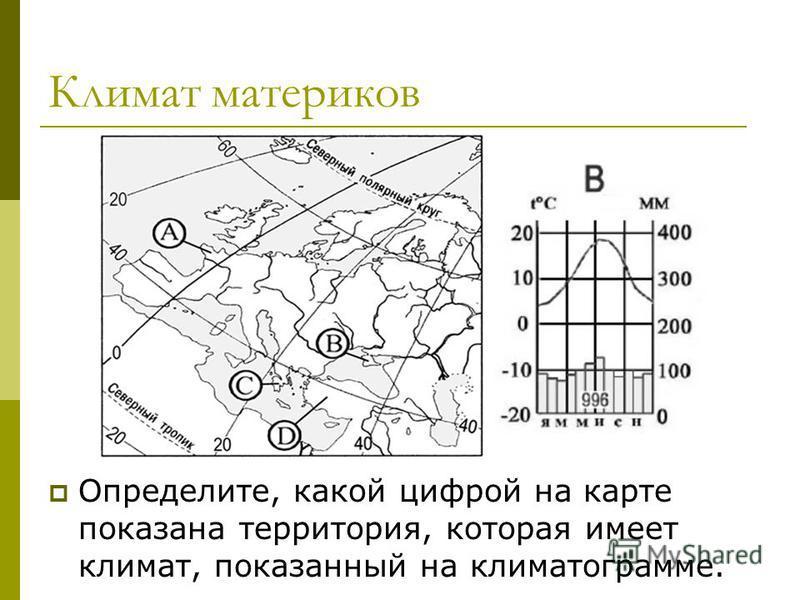 Климат материков Определите, какой цифрой на карте показана территория, которая имеет климат, показанный на климатограмме.