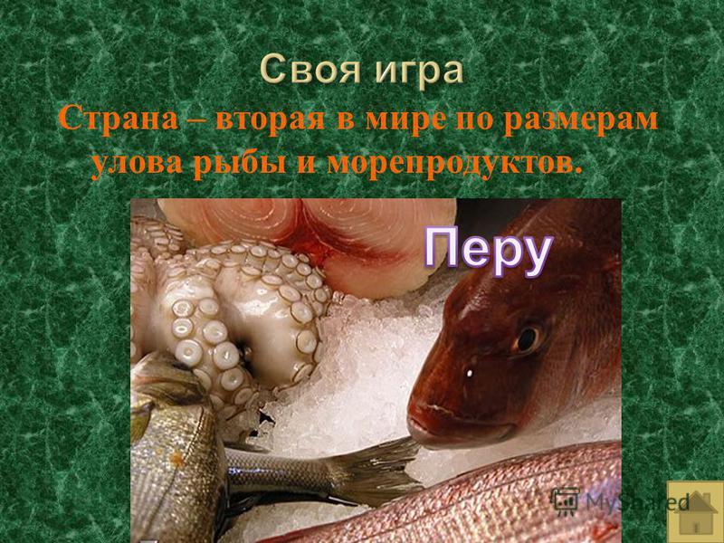 Страна – вторая в мире по размерам улова рыбы и морепродуктов.