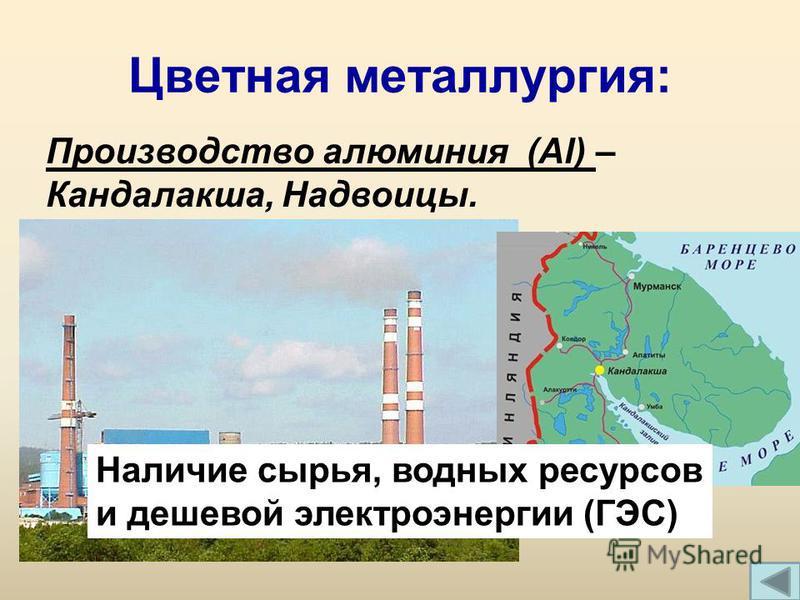 Цветная металлургия: Производство алюминия (Al) – Кандалакша, Надвоицы. Наличие сырья, водных ресурсов и дешевой электроэнергии (ГЭС)
