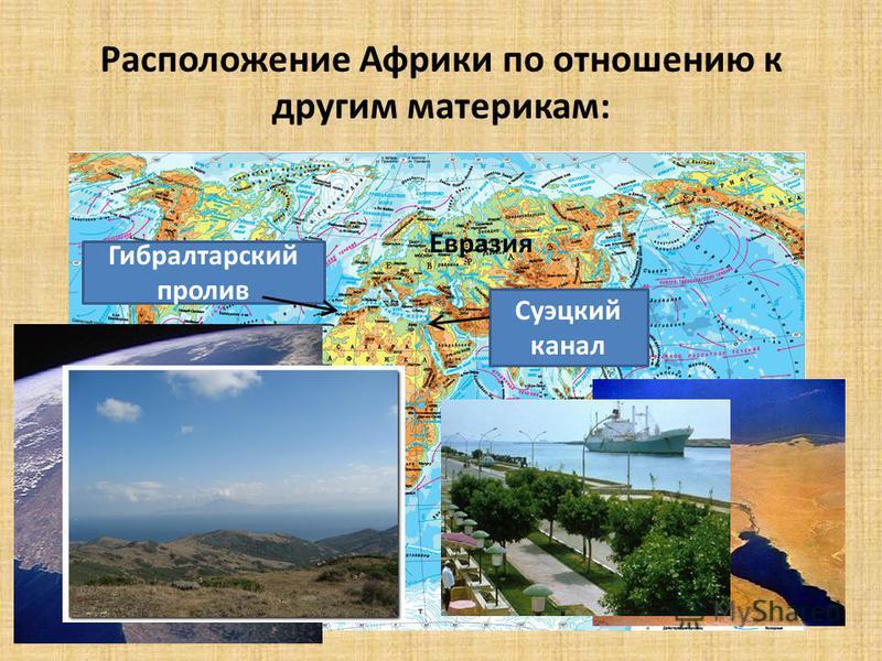 Расположение Африки по отношению к другим материкам: Гибралтарский пролив Суэцкий канал Евразия