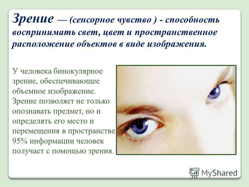 Зрение (сенсорное чувство ) - способность воспринимать свет, цвет и пространственное расположение объектов в виде изображения. У человека бинокулярное зрение, обеспечивающее объемное изображение. Зрение позволяет не только опознавать предмет, но и оп