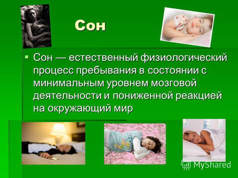Сон Сон Сон естественный физиологический процесс пребывания в состоянии с минимальным уровнем мозговой деятельности и пониженной реакцией на окружающий мир Сон естественный физиологический процесс пребывания в состоянии с минимальным уровнем мозговой