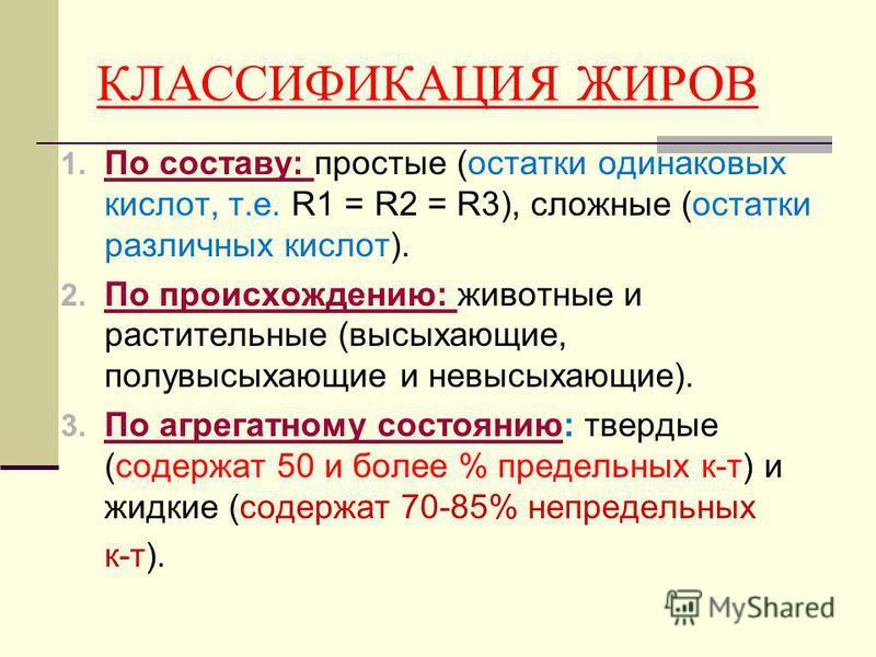 КЛАССИФИКАЦИЯ ЖИРОВ 1. По составу: простые (остатки одинаковых кислот, т.е. R1 = R2 = R3), сложные (остатки различных кислот). По составу: 2. По происхождению: животные и растительные (высыхающие, полувысыхающие и невысыхающие). По происхождению: 3.