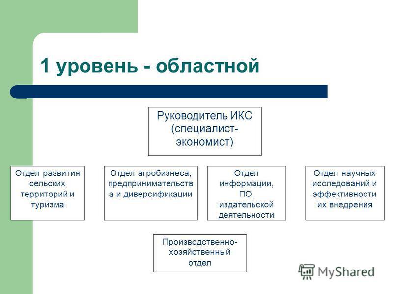 4-х уровневая структура ИКС АПК Ярославской области 1 уровень – областной Информационно-консультационный центр АПК 2 уровень – межрайонный Межрайонные ИКЦ 3 уровень – муниципальный (районный) Районные ИКЦ 4 уровень – низовой Сельские ИКС