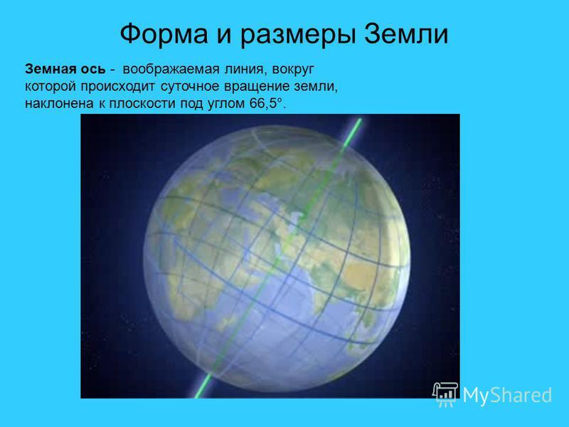 Форма и размеры Земли 6357 км 6378 км Земная ось - воображаемая линия, вокруг которой происходит суточное вращение земли, наклонена к плоскости под углом 66,5°.