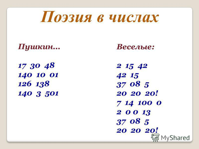 Пушкин... 17 30 48 140 10 01 126 138 140 3 501 Веселые: 2 15 42 42 15 37 08 5 20 20 20! 7 14 100 0 2 0 0 13 37 08 5 20 20 20! Поэзия в числах