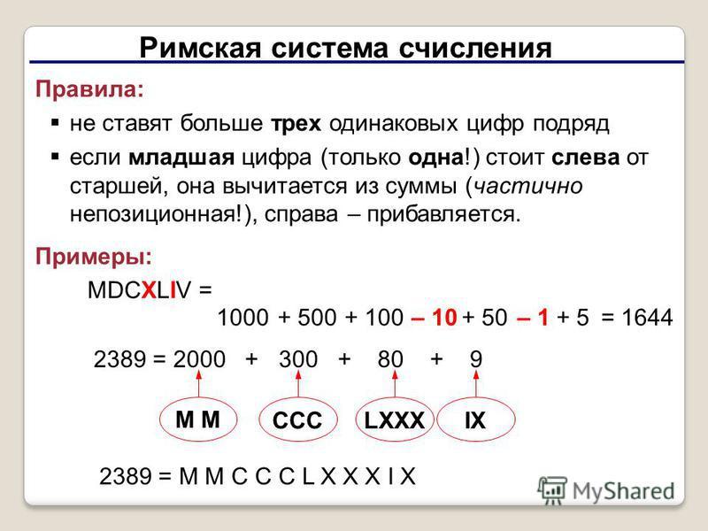 Римская система счисления Правила: не ставят больше трех одинаковых цифр подряд если младшая цифра (только одна!) стоит слева от старшей, она вычитается из суммы (частично непозиционная!), справа – прибавляется. Примеры: MDCXLIV = 1000+ 500+ 100– 10+