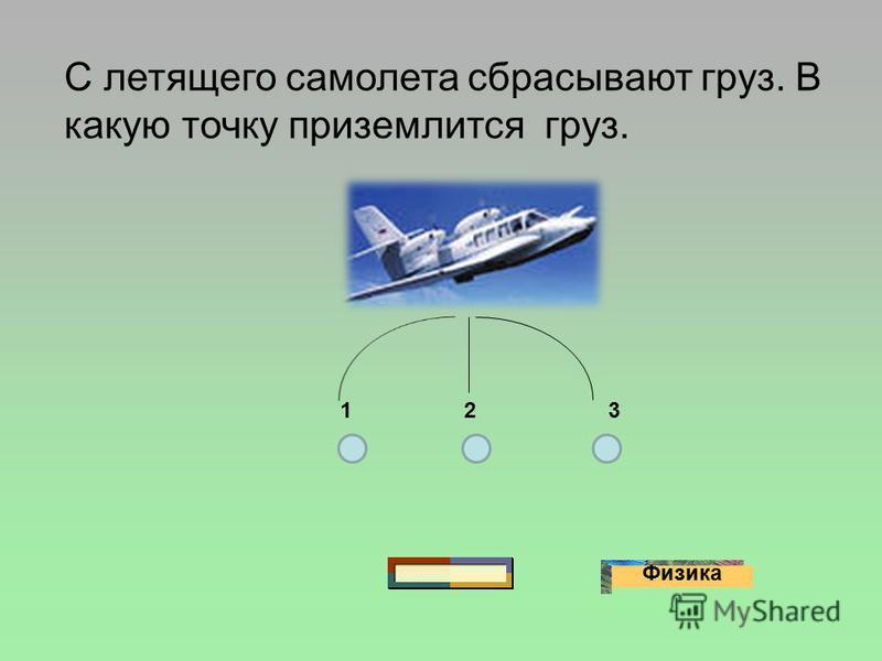 Физика С летящего самолета сбрасывают груз. В какую точку приземлится груз. 123