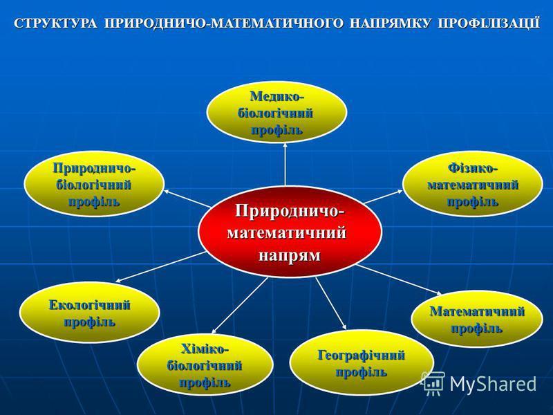 Хіміко-біологічнийпрофіль Природничо-біологічнийпрофіль Медико-біологічнийпрофіль Екологічнийпрофіль Математичнийпрофіль Географічнийпрофіль Фізико-математичнийпрофіль Природничо-математичнийнапрям СТРУКТУРА ПРИРОДНИЧО-МАТЕМАТИЧНОГО НАПРЯМКУ ПРОФІЛІЗ