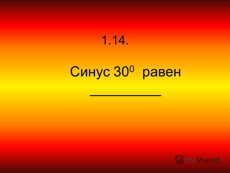 1.14. Синус 30 0 равен _________