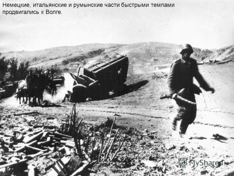 Немецкие, итальянские и румынские части быстрыми темпами продвигались к Волге.