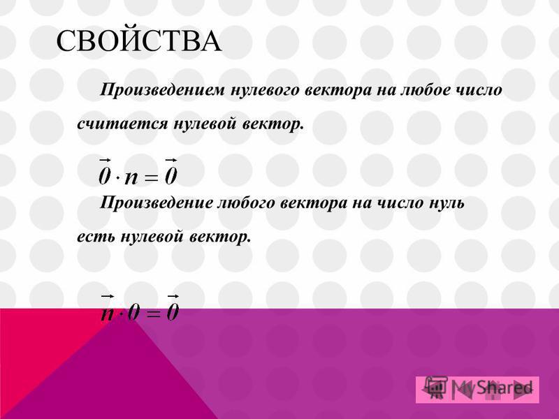 СВОЙСТВА Произведением нулевого вектора на любое число считается нулевой вектор. Произведение любого вектора на число нуль есть нулевой вектор.