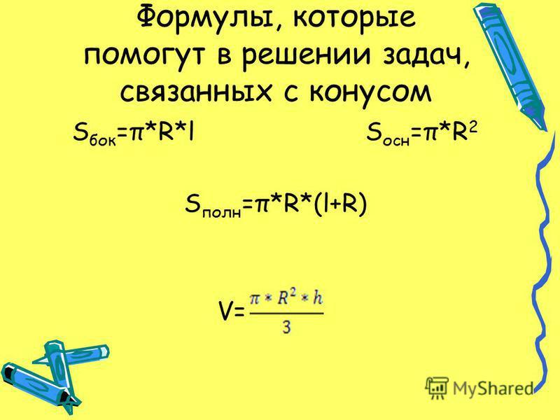 Формулы, которые помогут в решении задач, связанных с конусом S бок =π*R*l S осн =π*R 2 S полн =π*R*(l+R) V=