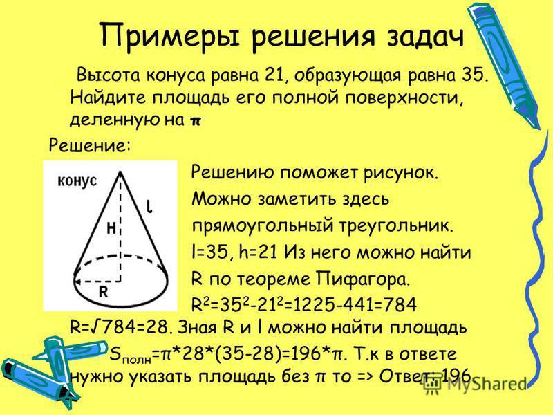 Примеры решения задач Высота конуса равна 21, образующая равна 35. Найдите площадь его полной поверхности, деленную на π Решение: Решению поможет рисунок. Можно заметить здесь прямоугольный треугольник. l=35, h=21 Из него можно найти R по теореме Пиф