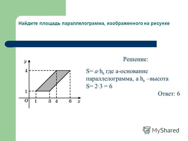 Найдите площадь параллелограмма, изображенного на рисунке Решение: S= a·h a где a-основание параллелограмма, а h a –высота S= 2·3 = 6 Ответ: 6