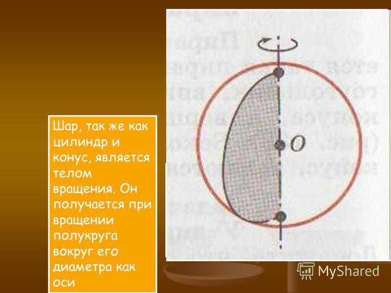 Шар, так же как цилиндр и конус, является телом вращения. Он получается при вращении полукруга вокруг его диаметра как оси