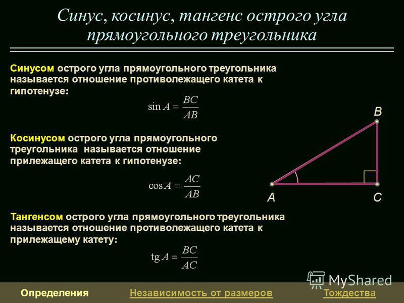Определения Независимость от размеров Тождества Синусом острого угла прямоугольного треугольника называется отношение противолежащего катета к гипотенузе : Синус, косинус, тангенс острого угла прямоугольного треугольника CA B Косинусом острого угла п