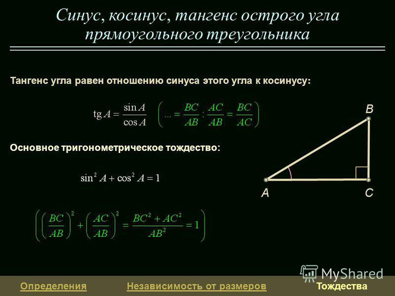 Определения Независимость от размеров Тождества Тангенс угла равен отношению синуса этого угла к косинусу : Синус, косинус, тангенс острого угла прямоугольного треугольника Основное тригонометрическое тождество: CA B