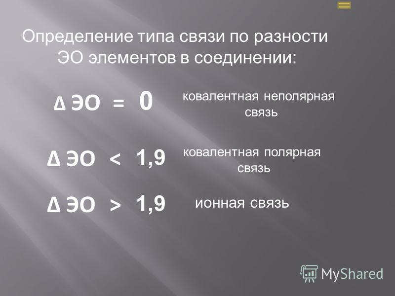 Определение типа связи по разности ЭО элементов в соединении: ЭО 0 ковалентная неполярная связь ЭО = < 1,9 ковалентная полярная связь > 1,9 ЭО ионная связь