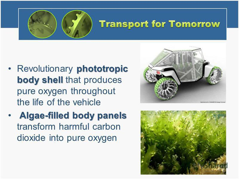 phototropic body shellRevolutionary phototropic body shell that produces pure oxygen throughout the life of the vehicle Algae-filled body panels Algae-filled body panels transform harmful carbon dioxide into pure oxygen