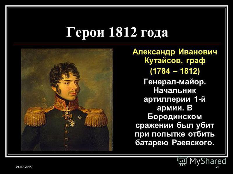 24.07.201522 Герои 1812 года Александр Иванович Кутайсов, граф (1784 – 1812) Генерал-майор. Начальник артиллерии 1-й армии. В Бородинском сражении был убит при попытке отбить батарею Раевского.