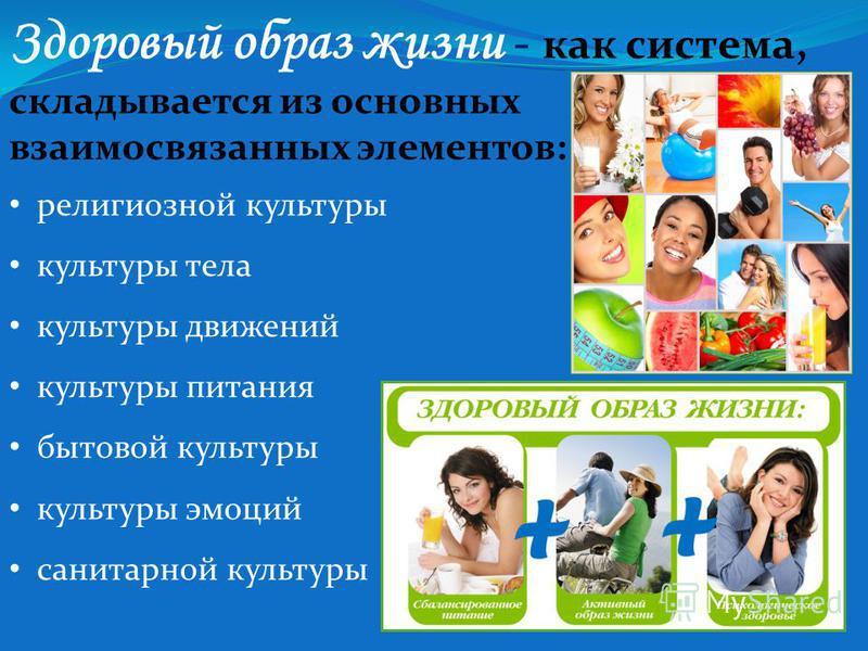 Здоровый образ жизни - как система, складывается из основных взаимосвязанных элементов: религиозной культуры культуры тела культуры движений культуры питания бытовой культуры культуры эмоций санитарной культуры