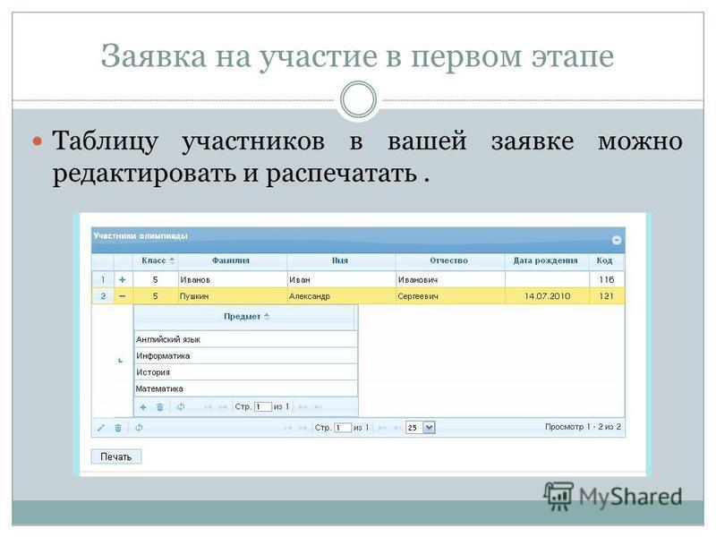 Таблицу участников в вашей заявке можно редактировать и распечатать.