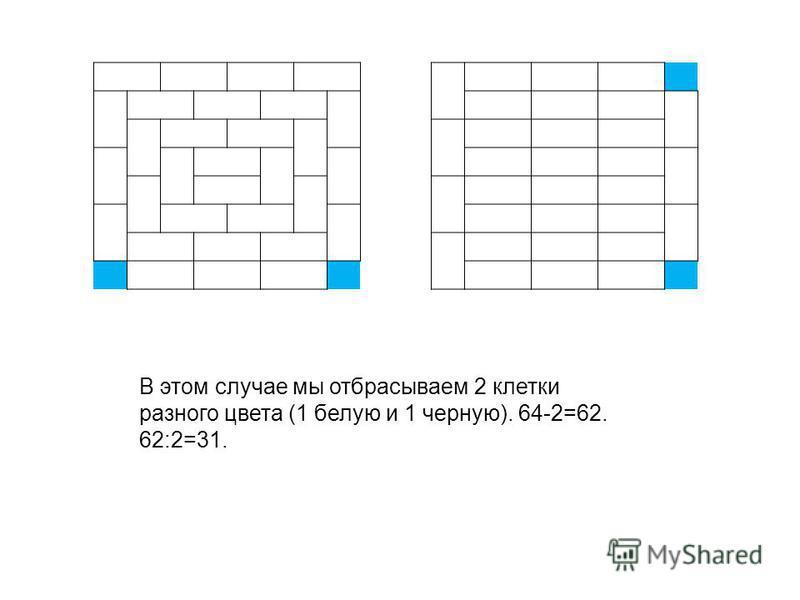 В этом случае мы отбрасываем 2 клетки разного цвета (1 белую и 1 черную). 64-2=62. 62:2=31.