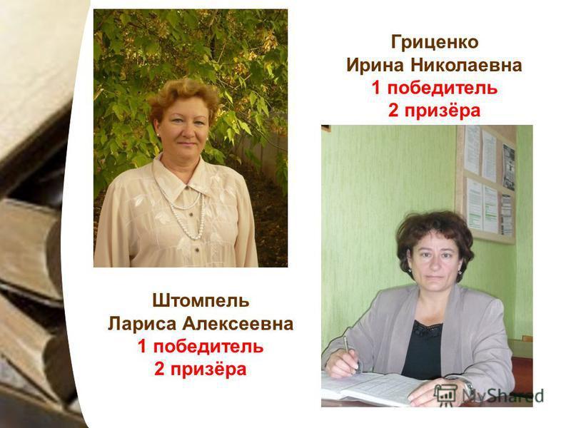 Штомпель Лариса Алексеевна 1 победитель 2 призёра Гриценко Ирина Николаевна 1 победитель 2 призёра