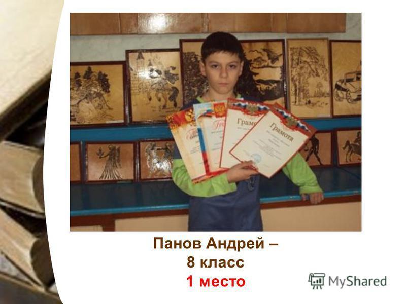 Панов Андрей – 8 класс 1 место