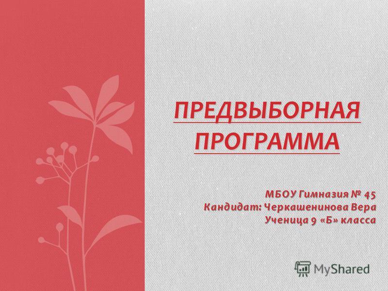 МБОУ Гимназия 45 Кандидат: Черкашенинова Вера Ученица 9 «Б» класса ПРЕДВЫБОРНАЯ ПРОГРАММА