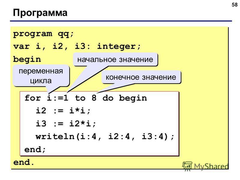 58 Программа program qq; var i, i2, i3: integer; begin for i:=1 to 8 do begin i2 := i*i; i3 := i2*i; writeln(i:4, i2:4, i3:4); end; end. переменная цикла переменная цикла начальное значение конечное значение