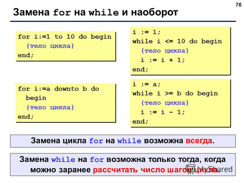 76 Замена for на while и наоборот for i:=1 to 10 do begin {тело цикла} end; for i:=1 to 10 do begin {тело цикла} end; i := 1; while i <= 10 do begin {тело цикла} i := i + 1; end; i := 1; while i <= 10 do begin {тело цикла} i := i + 1; end; for i:=a d