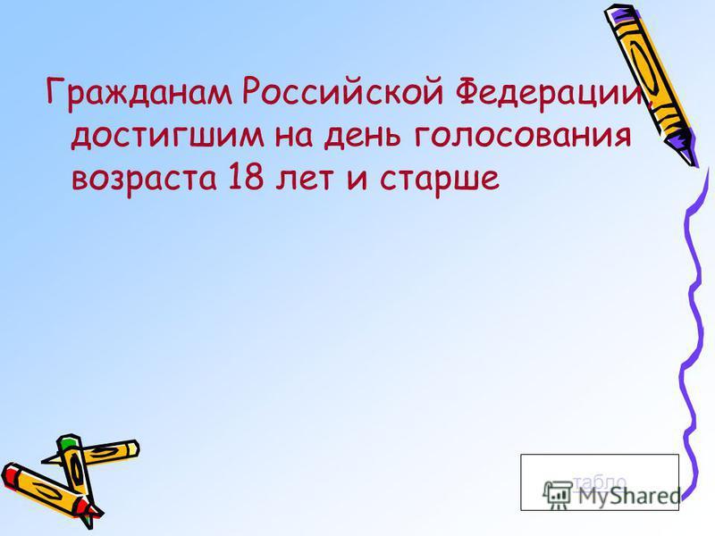 Гражданам Российской Федерации, достигшим на день голосования возраста 18 лет и старше табло