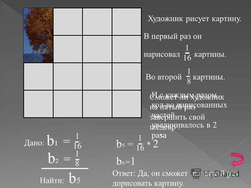 Бесконечной прогрессии называется Геометрическая прогрессия в которой знаменатель меньше единицы. Пример
