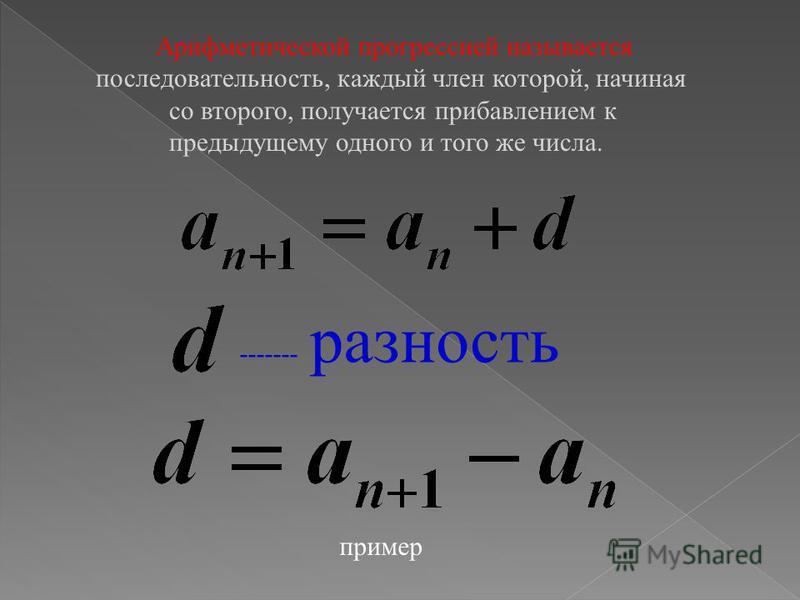 Содержание Определение арифметической прогрессии. Свойства прогрессии. Формула n-го члена Формула n-го члена арифметической прогрессии. Формула суммы n-первых членов арифметической прогрессии.