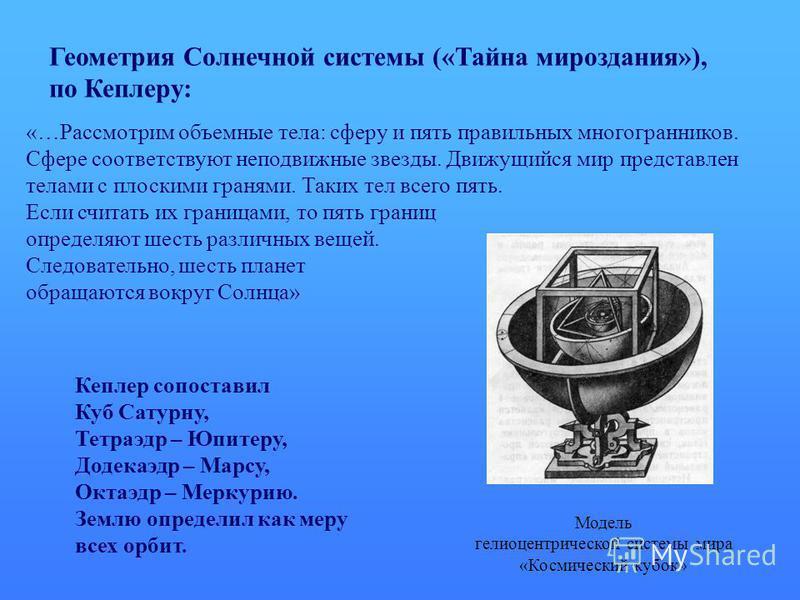 Модель гелиоцентрической системы мира «Космический кубок» Геометрия Солнечной системы («Тайна мироздания»), по Кеплеру: «…Рассмотрим объемные тела: сферу и пять правильных многогранников. Сфере соответствуют неподвижные звезды. Движущийся мир предста
