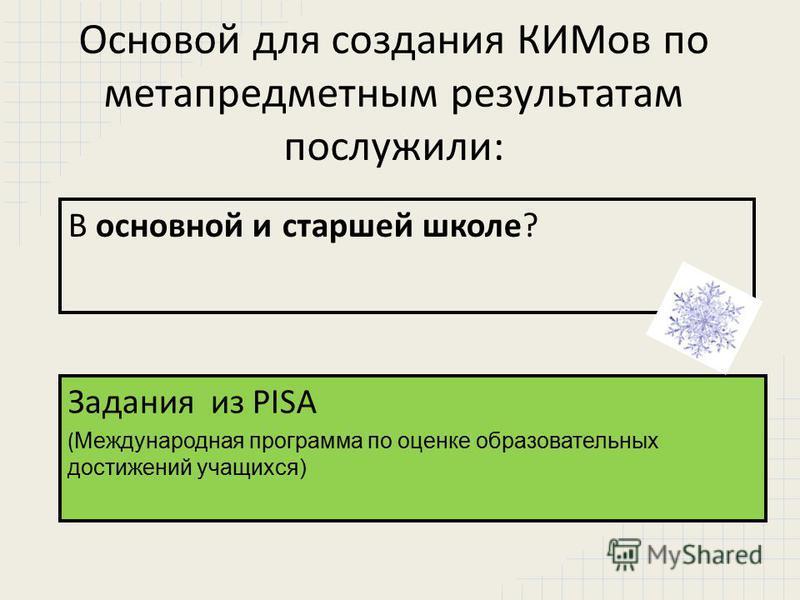 Основой для создания КИМов по метапредметным результатам послужили: В основной и старшей школе? Задания из PISA ( Международная программа по оценке образовательных достижений учащихся)
