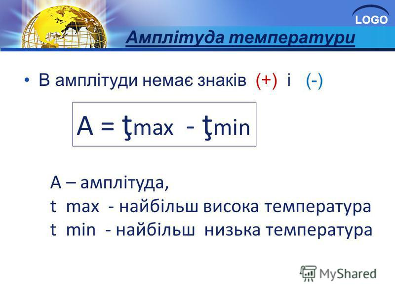 LOGO Амплітуда температури В амплітуди немає знаків (+) і (-) А = ţ max - ţ min А – амплітуда, t max - найбільш висока температура t min - найбільш низька температура