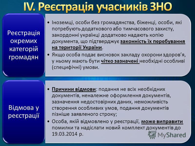 Іноземці, особи без громадянства, біженці, особи, які потребують додаткового або тимчасового захисту, закордонні українці додатково надають копію документа, що підтверджує законність їх перебування на території України. Якщо особа подає висновок закл