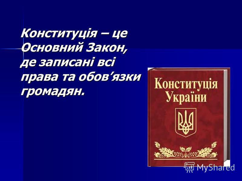 Конституція – це Основний Закон, де записані всі права та обовязки громадян. Конституція – це Основний Закон, де записані всі права та обовязки громадян.