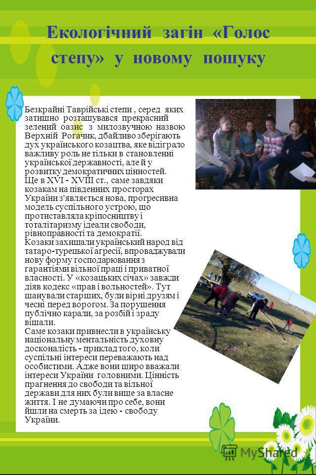 Екологічний загін «Голос степу» у новому пошуку Безкрайні Таврійські степи, серед яких затишно розташувався прекрасний зелений оазис з милозвучною назвою Верхній Рогачик, дбайливо зберігають дух українського козацтва, яке відіграло важливу роль не ті
