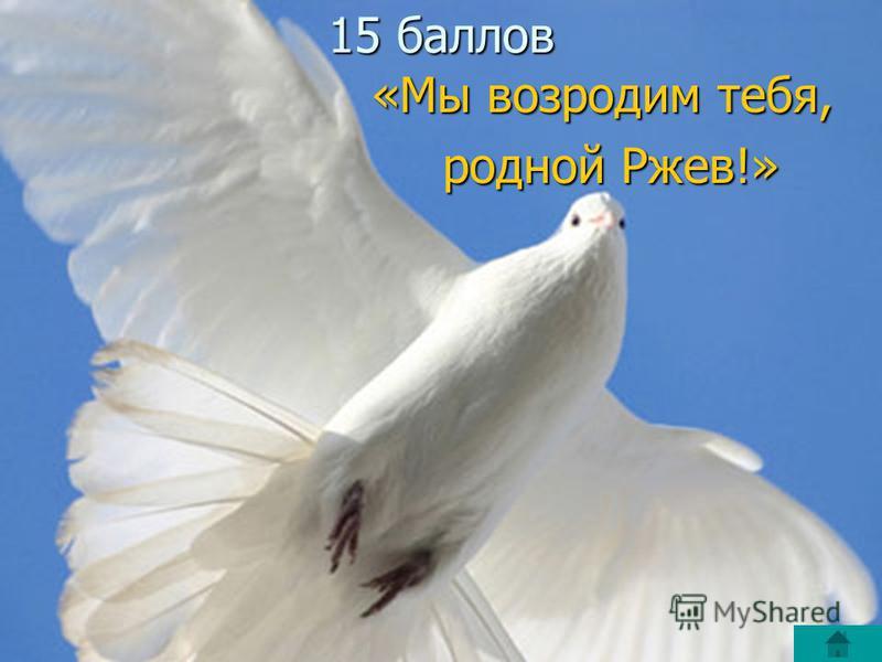 15 баллов «Мы возродим тебя, родной Ржев!» родной Ржев!»