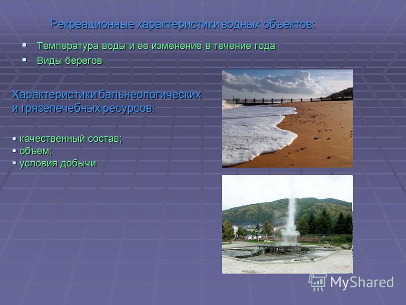 Рекреационные характеристики водных объектов: Температура воды и ее изменение в течение года Температура воды и ее изменение в течение года Виды берегов Виды берегов Характеристики бальнеологических и грязелечебных ресурсов: качественный состав; каче